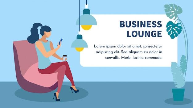 Banner piatto di business lounge zone