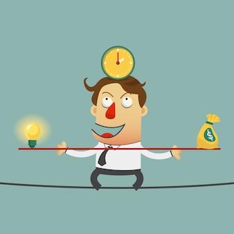 Uomo di affari che equilibra sul cavo con soldi e tempo di idee