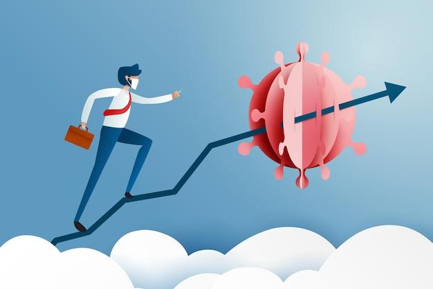 L'uomo d'affari sulla freccia blu vola la crisi del coronavirus svolta. crisi aziendale e finanziaria dal coronavirus covid-19. illustrazione vettoriale di arte cartacea.
