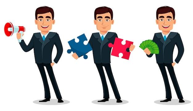Personaggio dei cartoni animati di uomo d'affari in abito formale set di tre pose