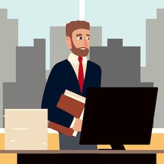 Illustrazione del computer della scrivania dell'ufficio dell'area di lavoro del fumetto dell'uomo di affari