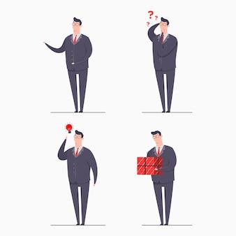 Illustrazione di concetto del carattere dell'uomo di affari impostare i caratteri che indossano abiti che presentano il regalo di idea confuso