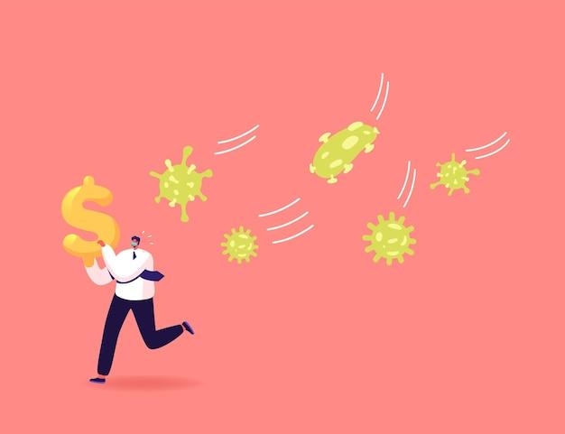 Personaggio d'affari in maschera fuga da un enorme attacco di cellule di coronavirus con un dollaro in mano