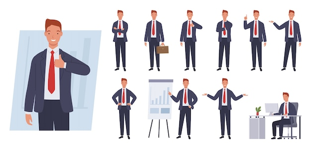 Set di caratteri di uomo d'affari. pose ed emozioni diverse.
