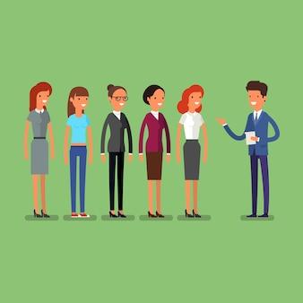 Uomo d'affari che sceglie persona per l'assunzione. lavoro e personale, risorse umane e reclutamento, selezionare persone, risorse e reclutare. illustrazione piatta