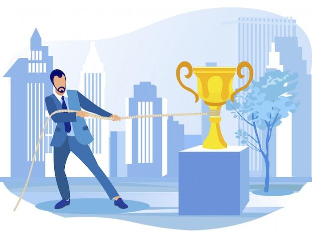 Uomo d'affari trascinando il premio campione d'oro