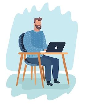 Imprenditore uomo d'affari in un vestito che lavora su un computer portatile