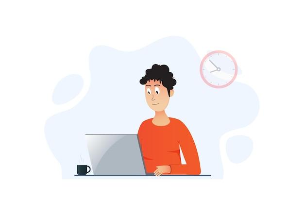 Imprenditore uomo d'affari in un vestito che lavora su un computer portatile. Vettore Premium