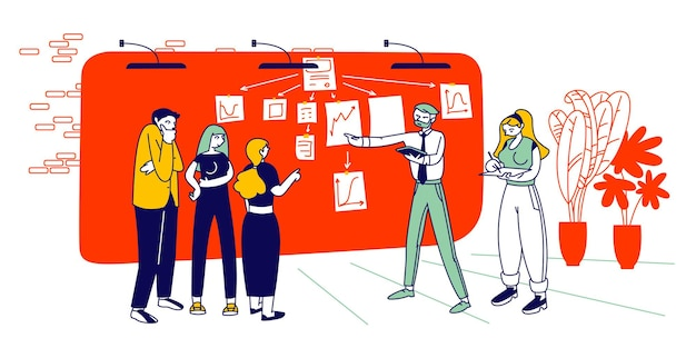 L'uomo d'affari spiega il piano di lavoro indicando i grafici e le note sul muro di lavoro crea una strategia di gestione dei progetti alla scrum task board. cartoon illustrazione piatta