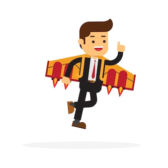 Uomo di affari che vola con uno zaino jet