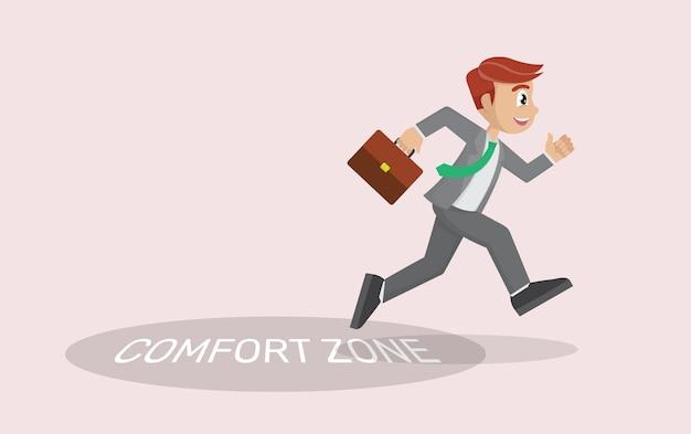 Uomo d'affari che esce dalla sua zona di comfort. concetto di innovazione,