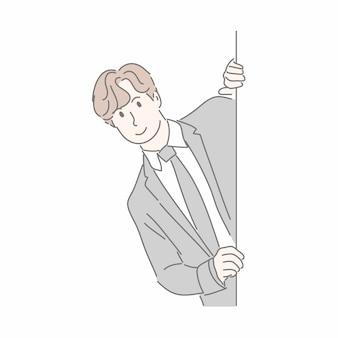 Uomo d'affari che nasconde muro benigno in mano disegnata