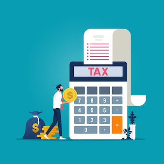 Uomo d'affari che tiene soldi per pagare le tasse, compilare il modulo fiscale, tempo per pagare le tasse concetto vettoriale