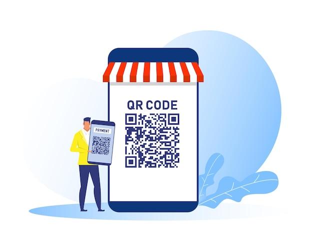 Uomo di affari che tiene smartphone usa l'illustrazione di concetto del negozio online di pagamento del codice qr