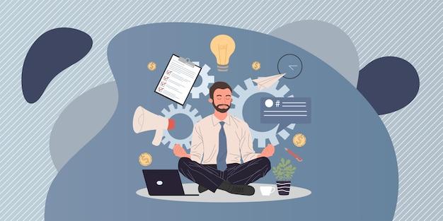 Uomo di affari che medita e che si distende nella posizione di loto