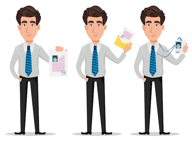 Uomo d'affari in abiti stile ufficio, set di tre pose