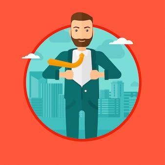 Uomo d'affari aprendo la giacca come supereroe. Vettore Premium