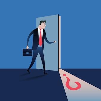 Uomo d'affari che apre la porta segreta.