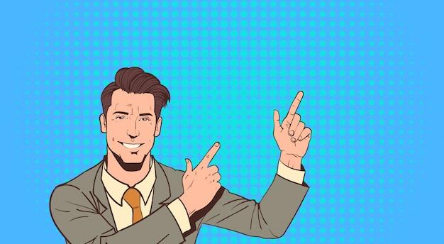 Business man point finger per copiare lo spazio pop art colorful retro style