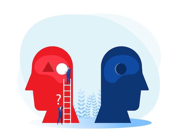 L'uomo di affari ha messo la sfera rotonda per sbagliare sul concetto di soluzione dei problemi umani del cervello