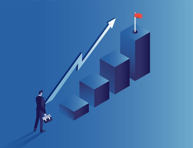Uomo d'affari raggiunge un rapporto di vendita obiettivo di destinazione per il rapporto commerciale