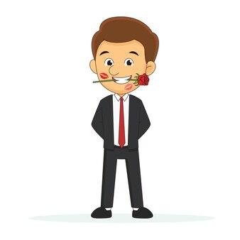 Uomo d'affari e rossetto rosso baciano segni sul viso, buon san valentino