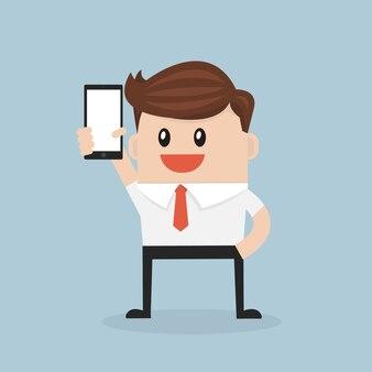 Smart phone di manifestazione dell'uomo di affari