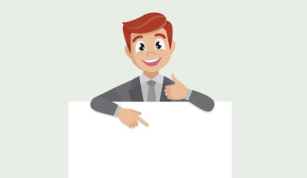 Uomo di affari che mostra manifesto in bianco, dito puntato e gesticolando pollice in alto segno.