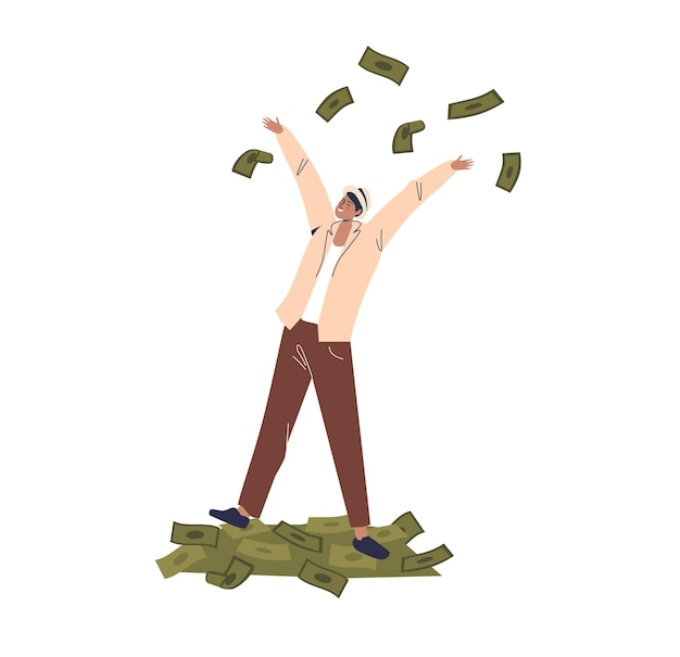 Uomo d'affari in piedi sul mucchio di dollari e gettando contanti