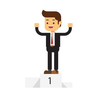 Uomo d'affari in piedi sul podio vincente