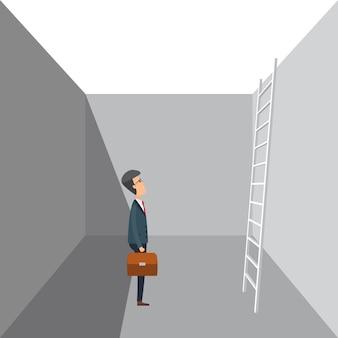 Uomo di affari in vestito che stading in un foro con la scala di legno sulla parete.