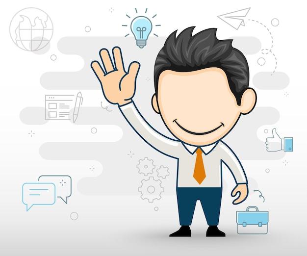 Uomo d'affari che saluta con la mano il concetto di giovane spirito imprenditoriale in stile cartone animato