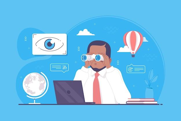 Uomo d'affari con illustrazione del concetto di visione futura