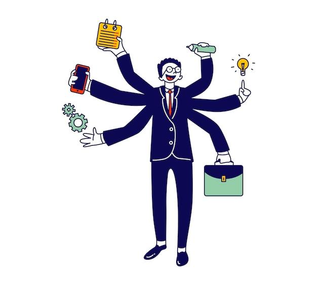 Uomo d'affari con molte mani multitasking e concetto di lavoro autonomo. cartoon illustrazione piatta