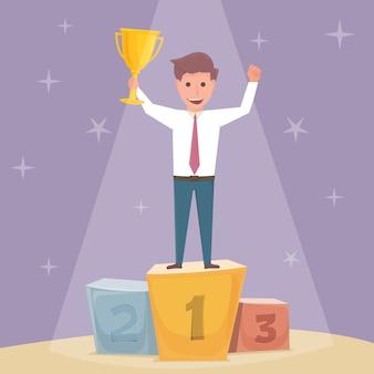 Uomo d'affari con trofeo sul podio