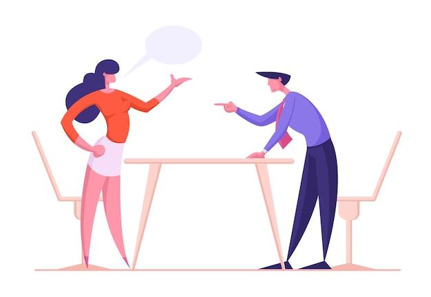 Caratteri della donna e dell'uomo di affari che urlano