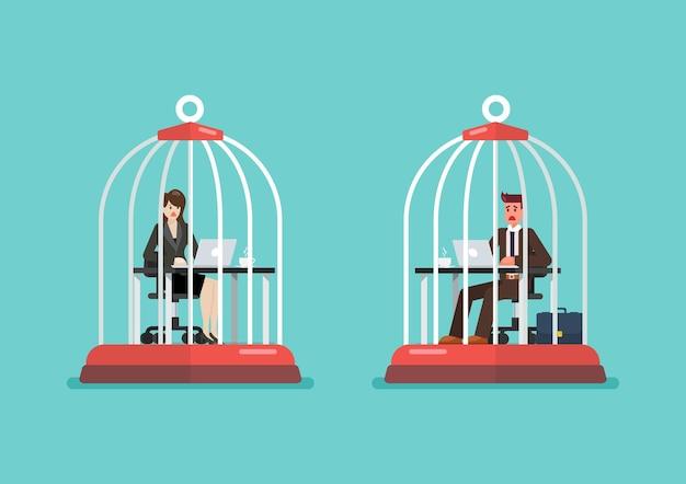 Uomo d'affari e donna che lavorano alla scrivania intrappolati all'interno di gabbie per uccelli