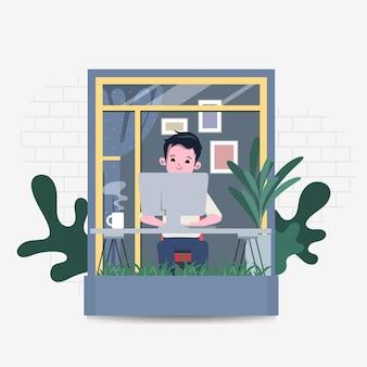 Uomo d'affari che lavora da casa concetto resta a casa resta al sicuro