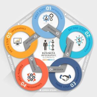 Banner di opzioni di stile origami cerchio gestione aziendale.