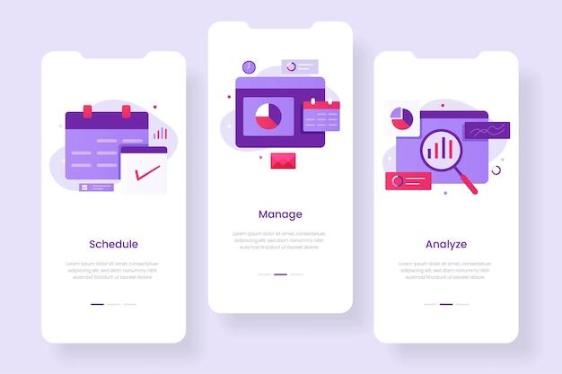 Concetto di app mobile per la gestione aziendale. illustrazioni per siti web, landing page, applicazioni mobili, poster e banner