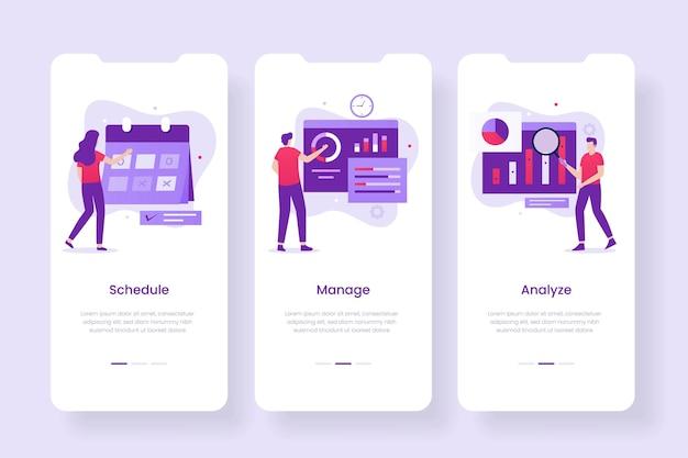 Schermate dell'app mobile di gestione aziendale. illustrazioni per siti web, landing page, applicazioni mobili, poster e banner
