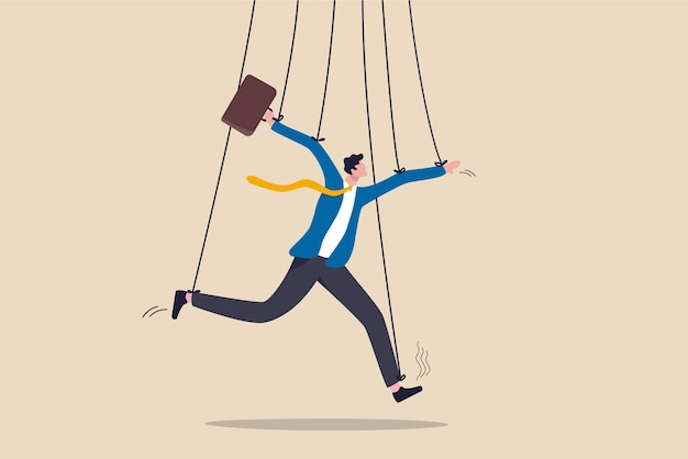 Gestione aziendale, manipolazione delle persone o potere di dominare il concetto di azioni, falso uomo d'affari che finge di essere intelligente con una corda o una corda come bambola burattinaio controllata o influenzata dal capo del potere