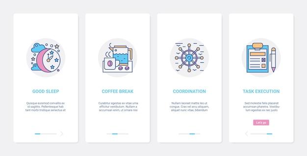 Set di schermate della pagina dell'app mobile dell'interfaccia utente di esecuzione del coordinamento del tempo di gestione aziendale