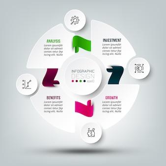 Modello di infografica diagramma di affari o marketing