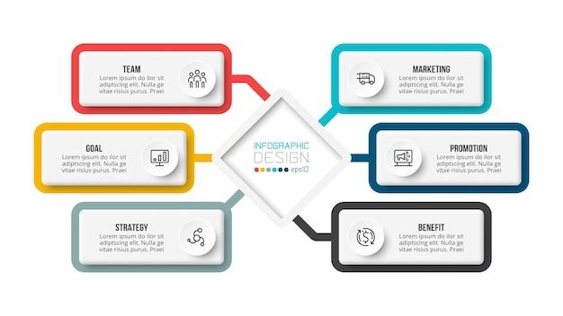 Modello di infografica diagramma aziendale o di marketing