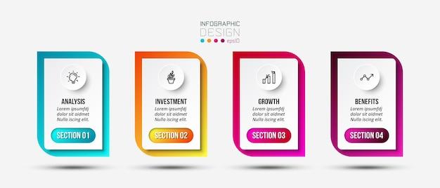 Modello di infografica aziendale o di marketing Vettore Premium