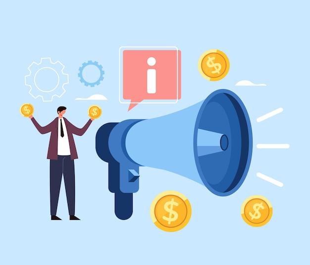 Concetto dei soldi di strategia del megafono di marketing aziendale.