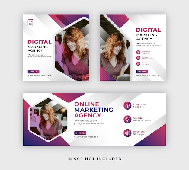 Banner di social media post marketing web aziendale & modello di copertina di facebook Vettore Premium