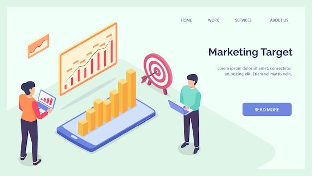 Gruppo target di marketing aziendale per banner modello di homepage sito web di atterraggio isometrico