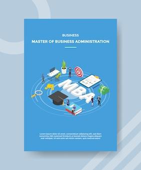 Maestro di affari della gente di amministrazione aziendale intorno al bordo di destinazione della freccia del libro del cappello del testo di mba